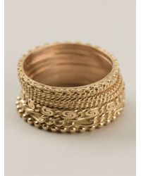 Wouters & Hendrix | Yellow Set Of 7 Rings | Lyst
