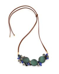 Marni | Green Horn, Crystal & Leather Pendant Necklace | Lyst