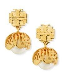 Tory Burch - Metallic Golden Cara Flower Drop Earrings - Lyst