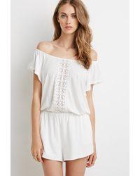 Forever 21 | White Crocheted Slub Knit Romper | Lyst