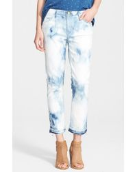 Current/Elliott | Blue 'the Cropped Straight' Ankle Jeans | Lyst