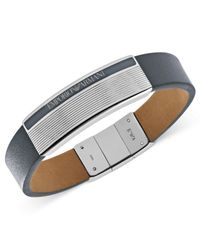 Emporio Armani | Gray Leather And Stainless Steel Logo Plaque Bracelet Egs1795040 for Men | Lyst