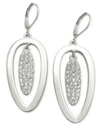 T Tahari - Metallic Essential Double Oval Pavé Drop Earring - Lyst