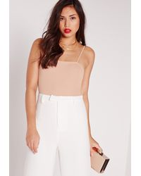Missguided - Natural Ribbed Cami Bodysuit Nude - Lyst