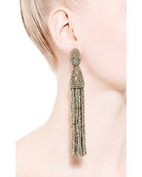 Oscar de la Renta - Metallic Long Tassel Earrings - Lyst