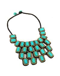 Aeravida - Blue Mosaic Droplets Turquoise Statement Brass Necklace - Lyst
