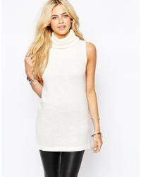 Fashion Union - Natural Sleeveless Roll Neck Tunic - Lyst
