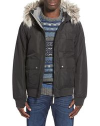 Bench Black 'sizzle' Hooded Bomber Jacket With Faux Fur Trim for men