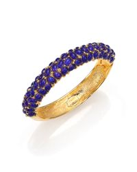 Kenneth Jay Lane | Blue Cabochon Cluster Bangle Bracelet | Lyst