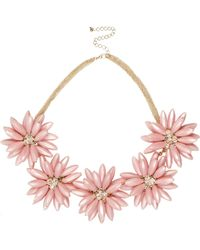River Island | Pink Chunky Flower Statement Necklace | Lyst