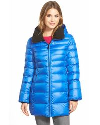 Marc New York | Blue 'eva' Down Coat With Detachable Hood | Lyst