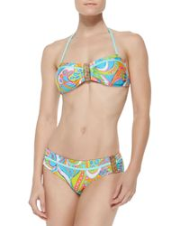 Trina Turk - Blue Cosmos Buckled Bandeau Top - Lyst