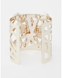 Lipsy - Pink Stone Cuff Bracelet - Lyst