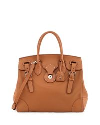 Ralph Lauren - Brown Soft Ricky 33 Soft Calfskin Satchel Bag - Lyst