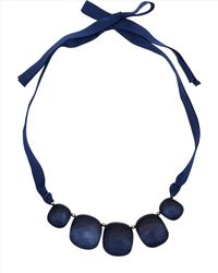 Jaeger - Blue Pebble Ribbon Necklace - Lyst