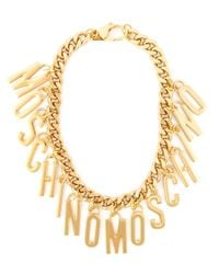 Moschino | Metallic Logo Charm Necklace | Lyst