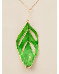 Aurelie Bidermann | Green 18kt Gold Swan Feather Necklace | Lyst
