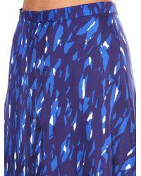 Balenciaga - Blue Graphic-print Silk Skirt - Lyst