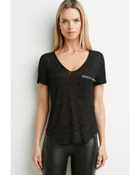 Forever 21 | Black Contemporary Speckled Zip-pocket Top | Lyst