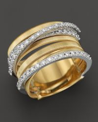 Marco Bicego | 18k Yellow Gold Goa Seven Row Ring With Diamonds | Lyst
