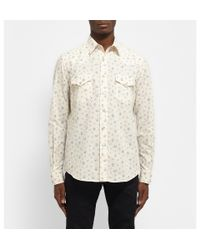 Saint Laurent | White Floral-Print Cotton Shirt for Men | Lyst