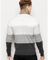 DIESEL - Black Crew Knit Sweater K-calib-a Block Stripe Marl for Men - Lyst