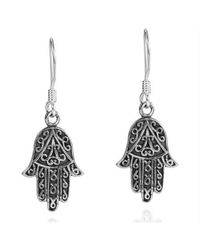 Aeravida - Black Swirl Accents Hamsa Hand Sterling Silver Earrings - Lyst