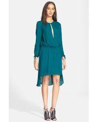 Haute Hippie - Blue Cold Shoulder Silk Blouson Dress - Lyst