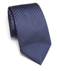 Armani | Blue Narrow Track Stripe Silk Tie for Men | Lyst