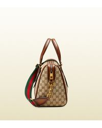 Gucci | Natural Lady Web Original Gg Canvas Boston Bag | Lyst