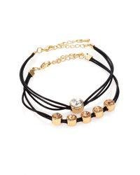 ABS By Allen Schwartz - Black Jeweled Cord Bracelet Set - Lyst
