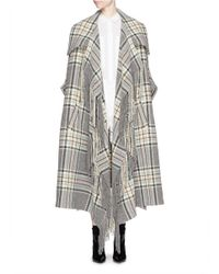 Lyst Chlo 233 Check Plaid Fringe Blanket Cape Coat In Gray