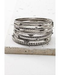 Forever 21 | Metallic Etched Charm-accented Bangle Set | Lyst