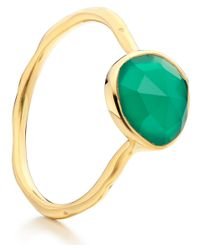 Monica Vinader - Metallic Gold Vermeil Green Onyx Siren Stacking Ring - Lyst