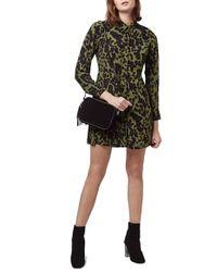 TOPSHOP - Green Leopard Print Shirtdress - Lyst