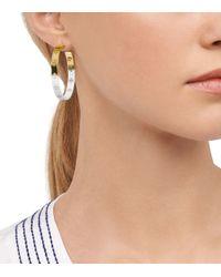 Tory Burch - Metallic Dipped Pierced-T Hoop Earring - Lyst