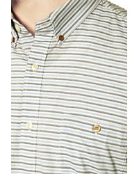 French Connection - Yellow Boilly Stripe Slim Fit Long Sleeve Shirt for Men - Lyst
