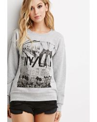 Forever 21 - Gray Ny La Graphic Sweatshirt - Lyst