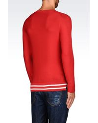 Emporio Armani - Red Jumper In Cotton And Silk for Men - Lyst