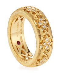 Roberto Coin - Metallic 18k Granada Diamond Cutout Ring Size 65 - Lyst