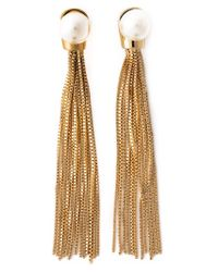 Ca&Lou - Metallic 'Inez' Pearl Chain Earrings - Lyst
