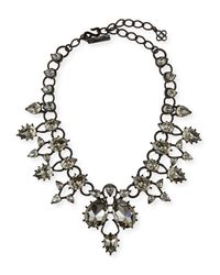 Oscar de la Renta | Black Crystal Drop Embellished Necklace | Lyst