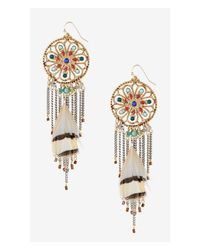 Express | Multicolor Filigree Fringe And Feather Dangle Earrings | Lyst