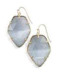Kendra Scott | Gray 'corley' Faceted Stone Drop Earrings - Rhodium/ Slate Cats Eye | Lyst