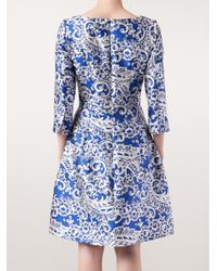 Oscar de la Renta | Blue Lace Appliquã© Dress | Lyst