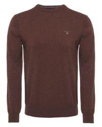 GANT | Brown Cotton Wool Crew Jumper for Men | Lyst