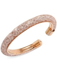 Betsey Johnson | Pink Rose Gold-Tone Mesh-Wrapped Crystal Bangle Bracelet | Lyst