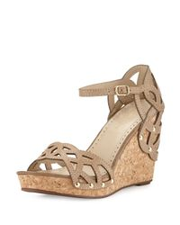 Adrienne Vittadini | Multicolor Chavi Laser-cut Wedge Sandal | Lyst