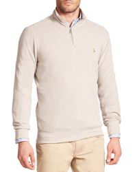 Polo Ralph Lauren | Natural Half-zip Pima Mockneck Pullover for Men | Lyst