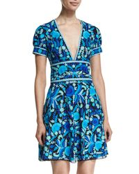 Naeem Khan | Blue Floral-print Open-back Crepe Dress | Lyst